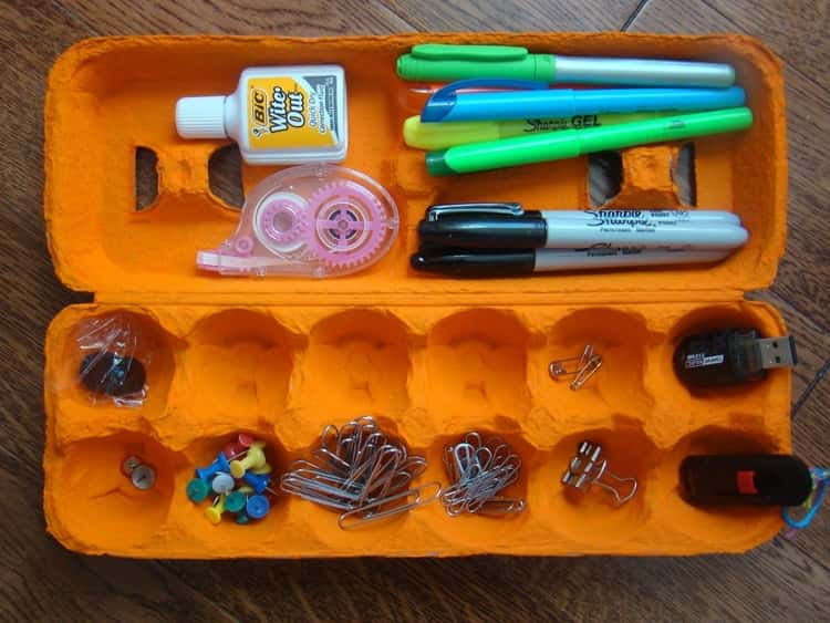 Egg carton in use a desk organizer for stationeries