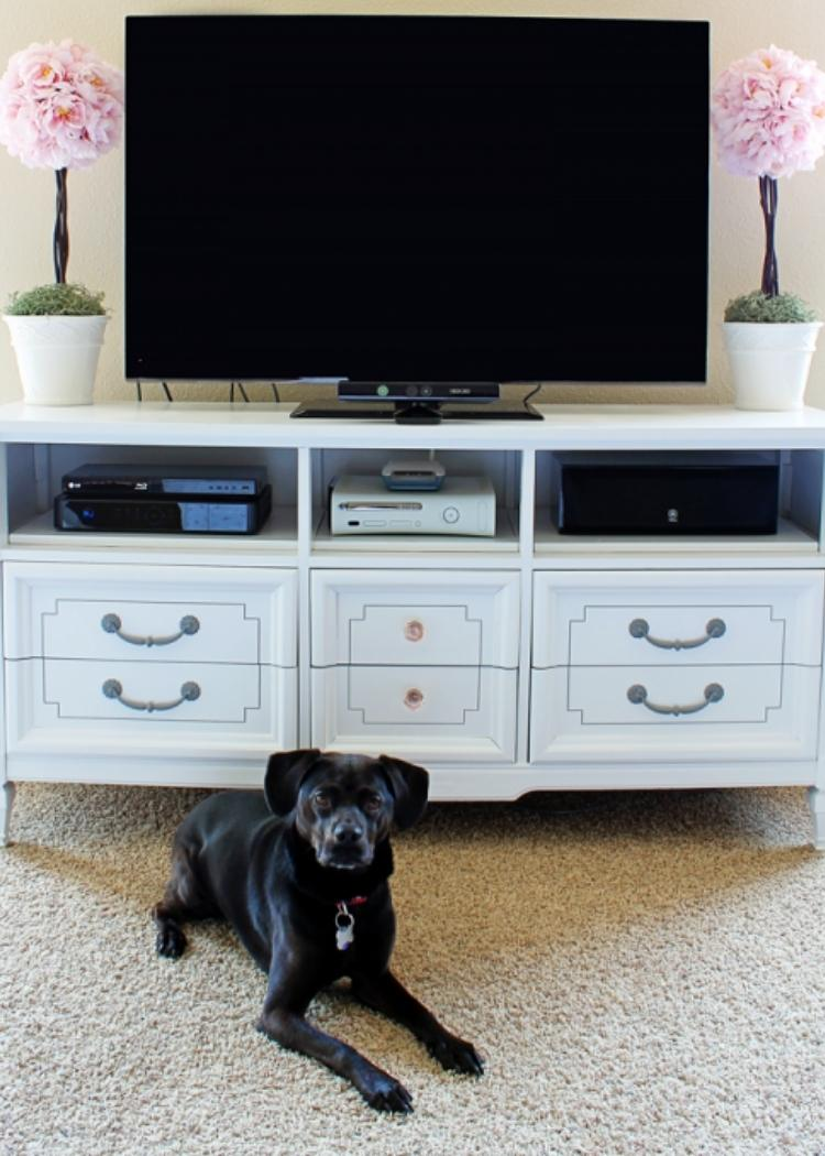 Dresser utilized as a tv stand. This gives you lots of space for a tiny living room. What a fun idea.