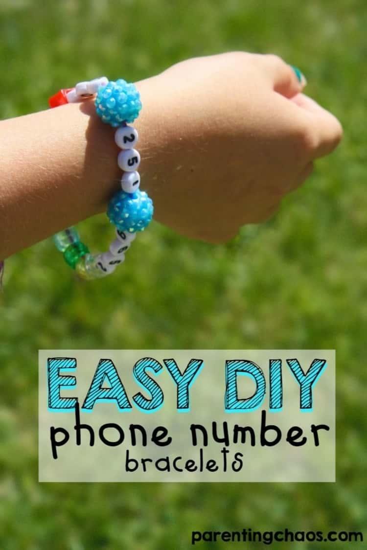 DIY phone number bracelets for kid when traveling