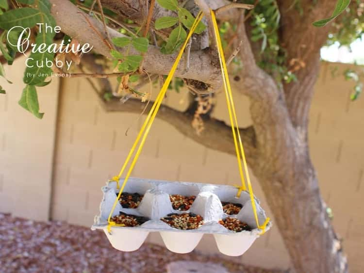 Egg carton cut in half and used as a hanging bird feeder