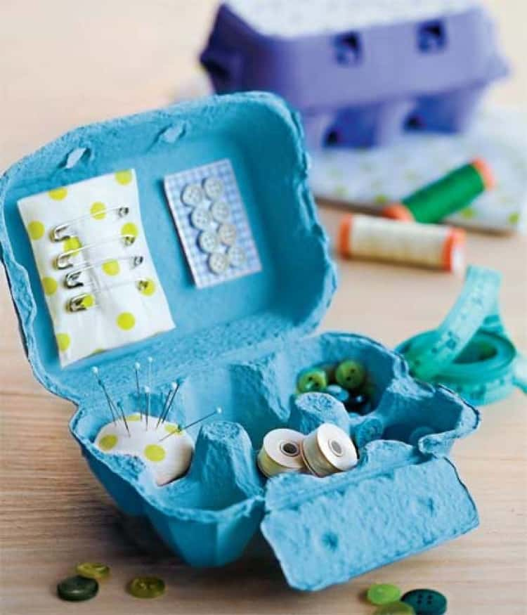 Sewing Kit made from an egg carton