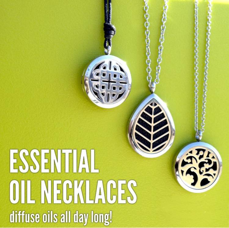 """Genius essential oils tips and tricks - image of different kinds of metal diffuser necklace pendants hanging from chains next to the words, """"esential oil necklaces - diffuse oils all day long!"""""""