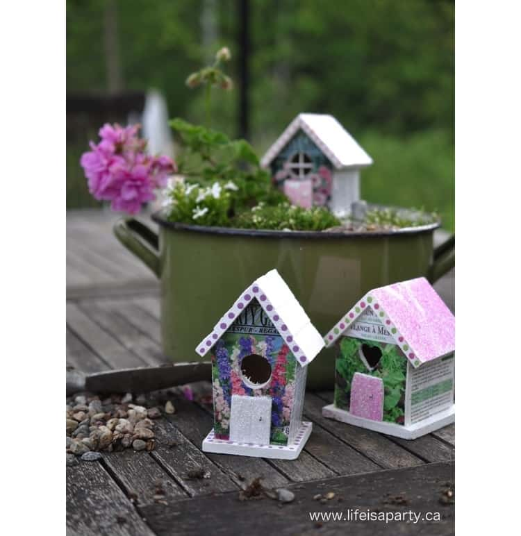 Make cute fairy houses with Dollar Store bird houses and a little creativity
