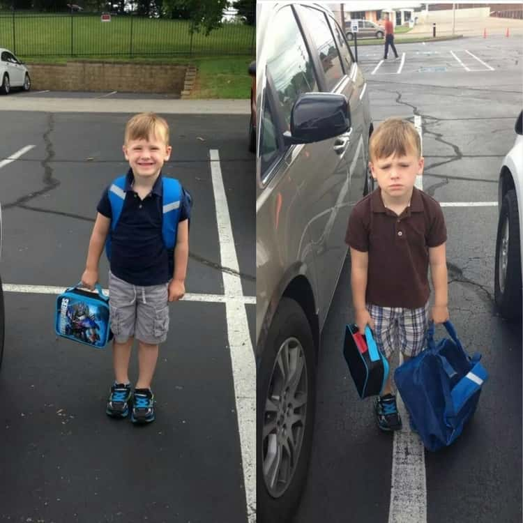 back to school photo ideas - first day versus second day pictures