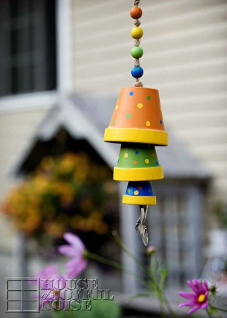 A wind chime made from different sized terra-cotta pots