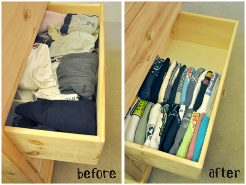 a Before image of a messy drawer full of t-shirts and an After image of the drawer with neatly folded t-shirts filed away