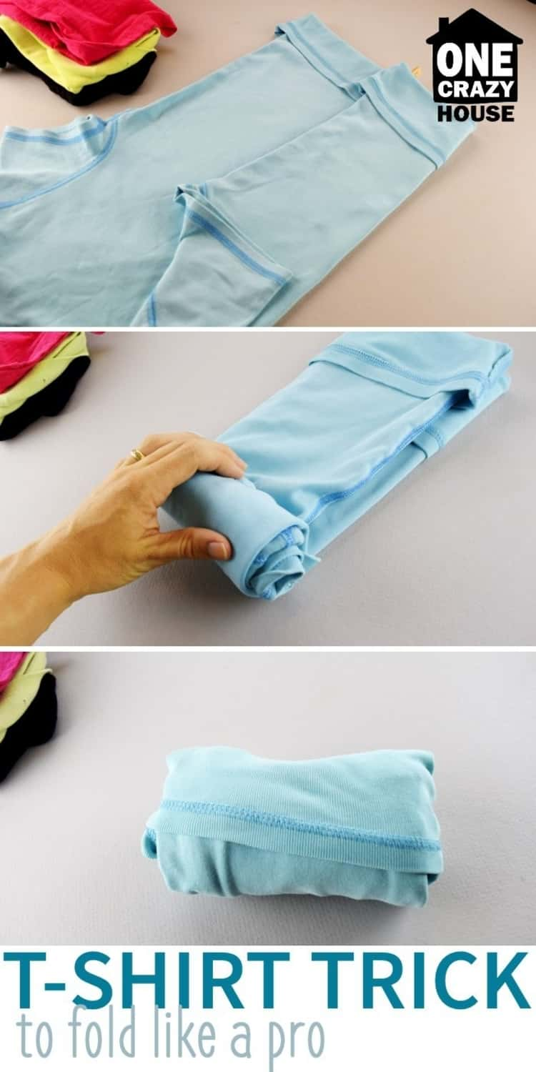 to store your clothes while saving drawer space, fold bottom hem of t-shirt, fold t-shirt into thirds lengthwise, roll and tuck into folded bottom hem