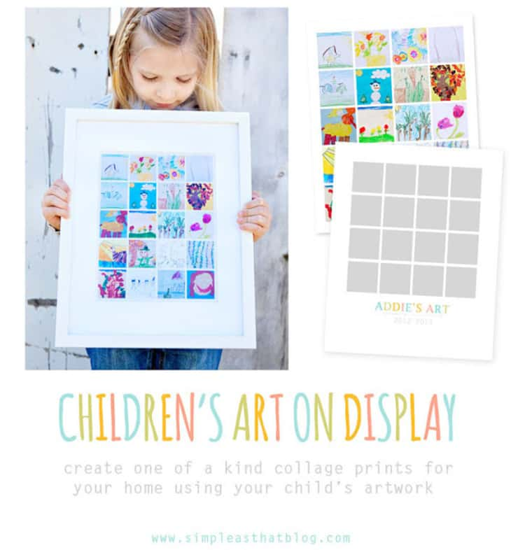 kids artwork framed to save space with a little girl holding the frame