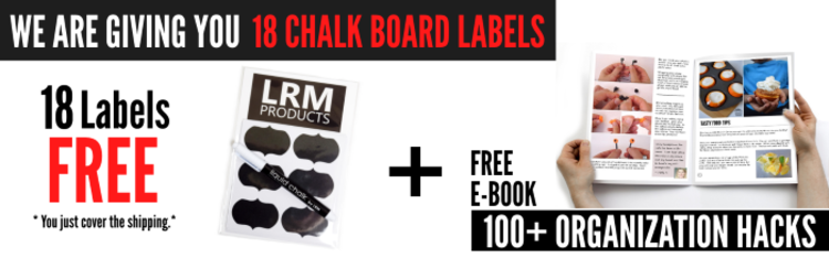 give away image for 18 free chalk board labels for organization