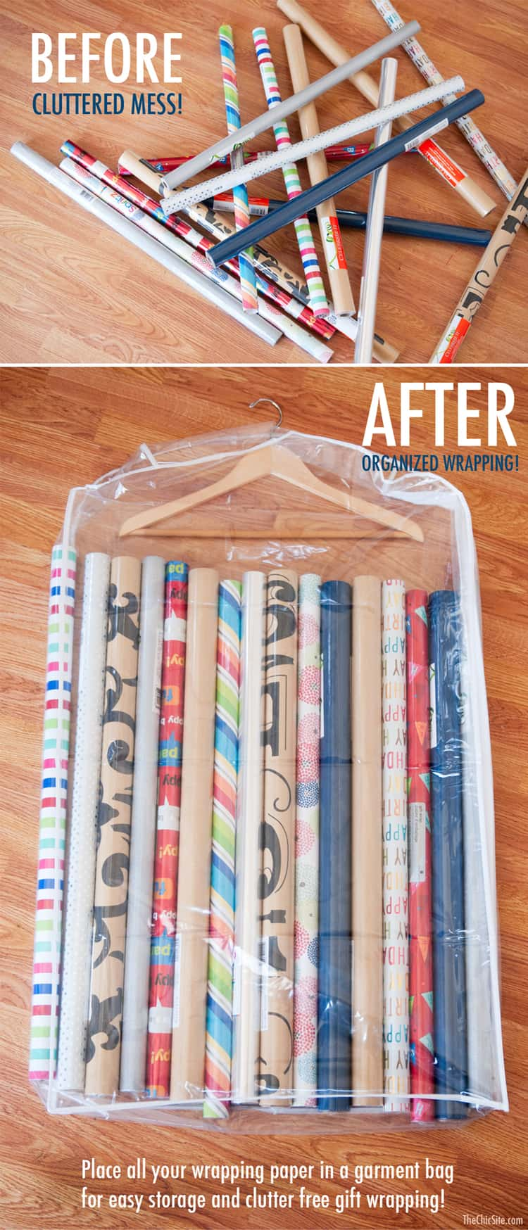 clear garment bag that hangs used to store long gift wrap paper rolls
