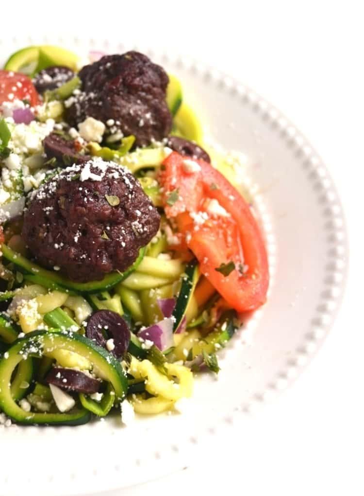 spiralizer recipe - Greek Meatball Zoodle Bowl