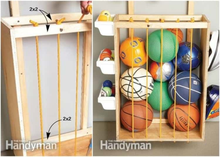 Gutter troughs are easy to set up for storage of sports equipment