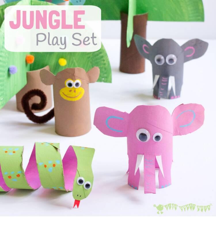 jungle animal playset cardboard tubes