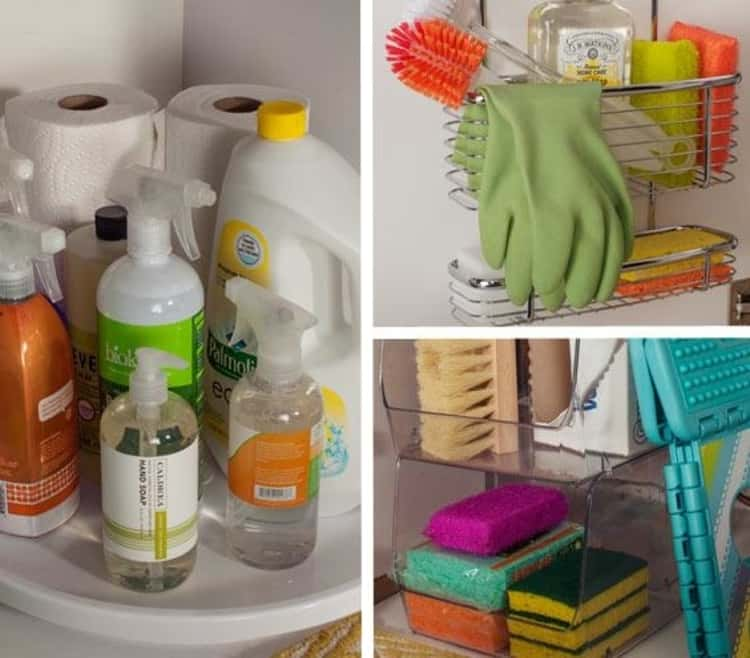 Use a lazy Susan under the sink to organize cleaning supplies