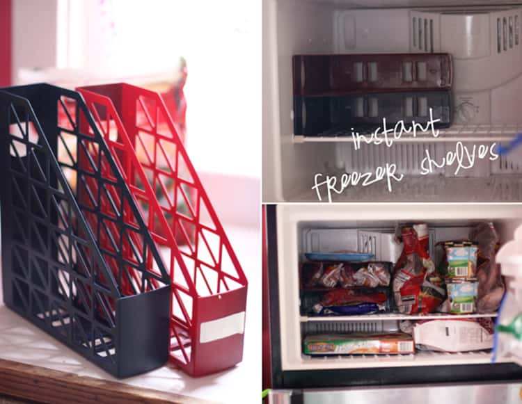2 photo collage - black and red PVC magazine holders, and the Before & After transformation images of instant freezer shelving from magazine holders