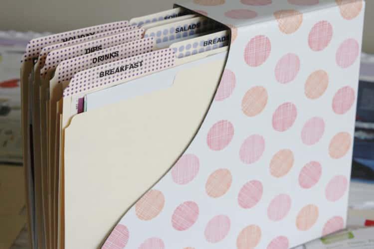 Categorized recipe folders organized in a magazine holder