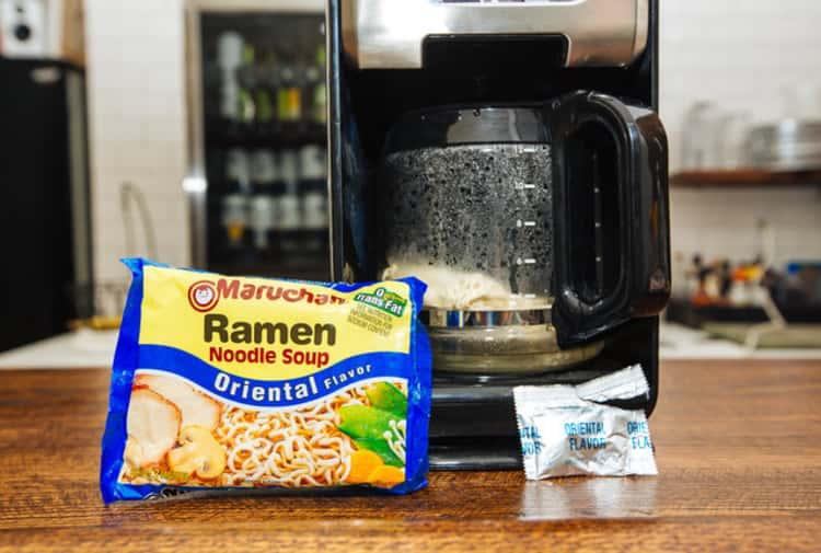 Prepare ramen in coffee maker