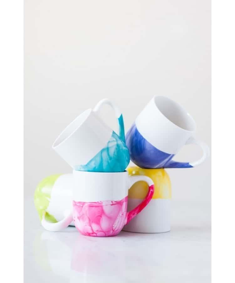 Make cute mugs with Dollar Store mugs and a bit of nailpolish