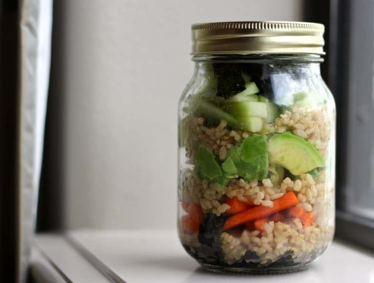 Sushi in a jar: rice, avocado, carrots, seaweed, and other veggies in a single mason jar