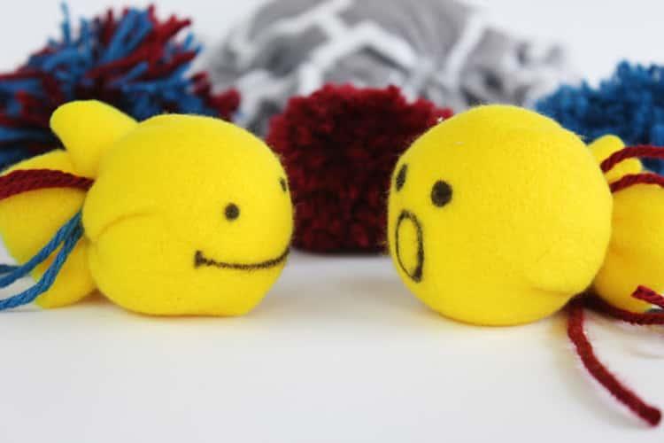 No-sew no-glue DIY cat toys - gold fish and pompoms