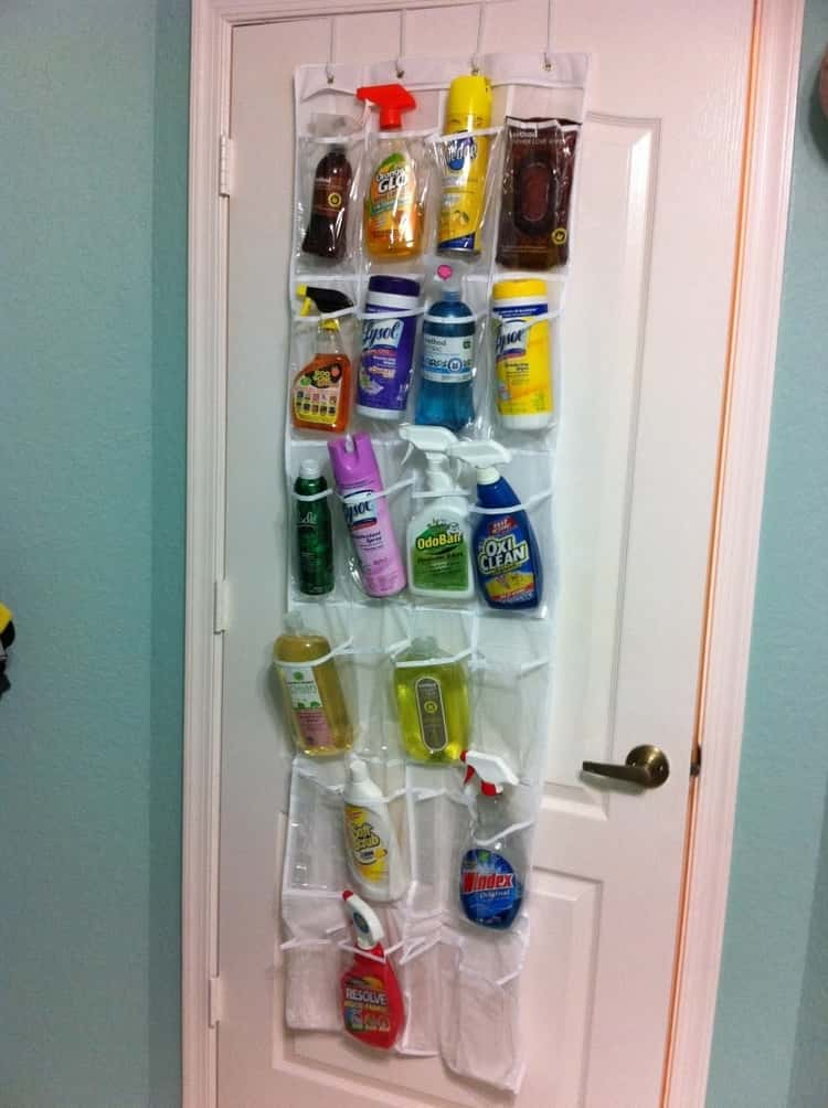Over-the-door shoe holder for cleaning supplies