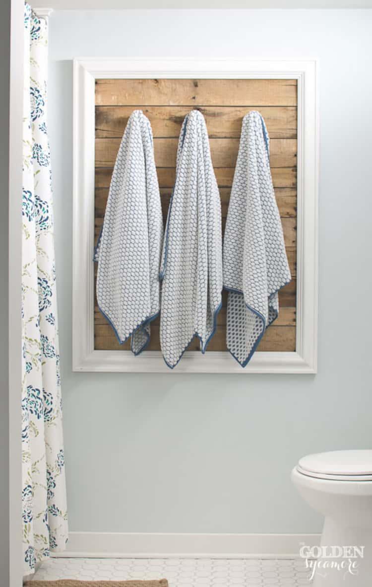 Framed pallet boards as towel holders