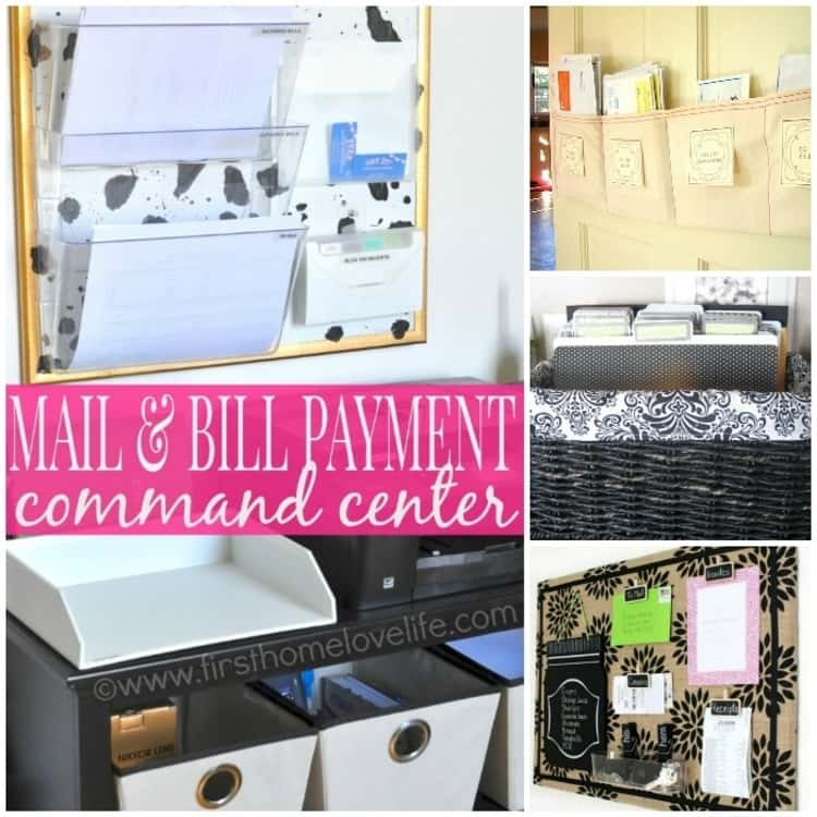 collage ideas to stop paper clutter with mail and bill payment center, billboard to organize papers, portable file basket with folders, hanging board with slots for papers, etc.