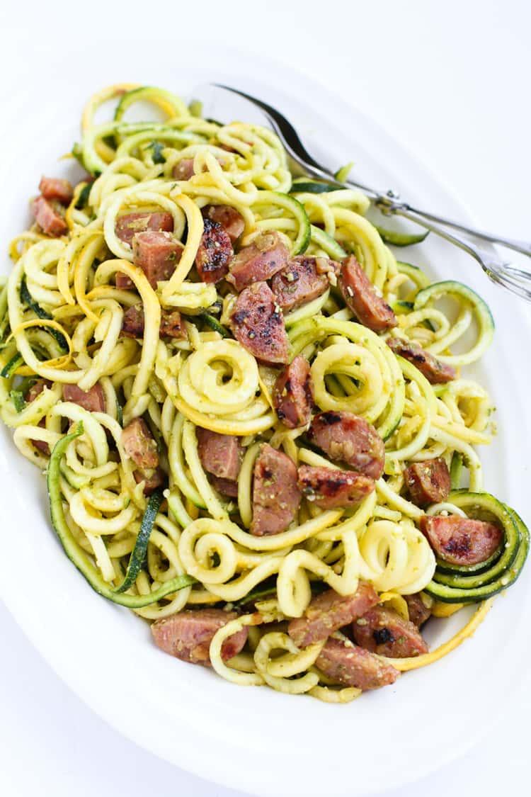 spiralizer recipe - Zucchini Noodles with Chicken Sausage