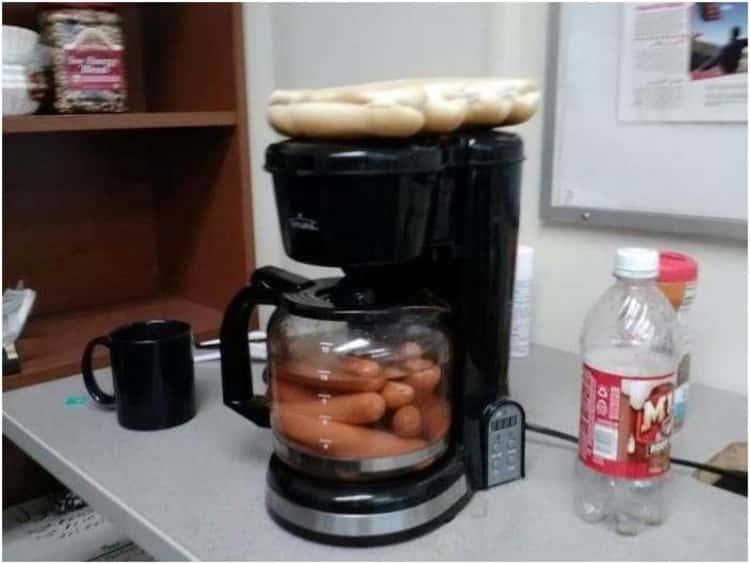 poach hotdogs in coffee maker
