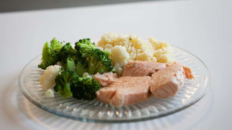 Poached Salmon, Couscous and Steamed Veggies in coffee maker