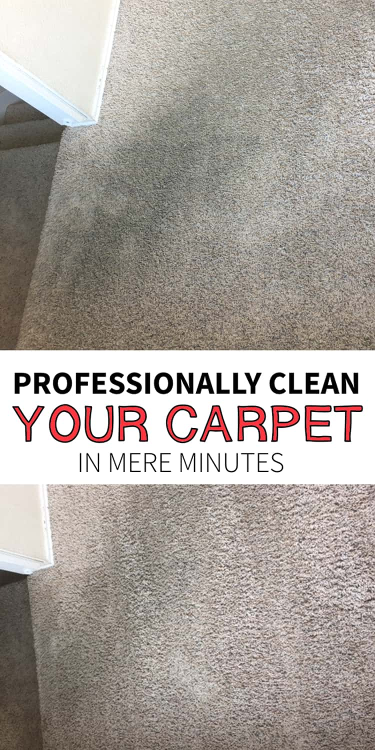 Professionally clean your carpet in mere minutes- a before and after photo of a dirty carpet and the result after cleaning
