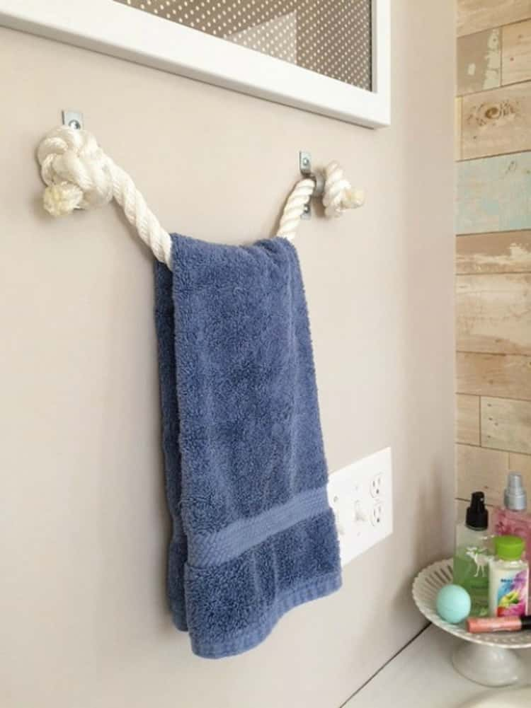 Use clips to make a rope towel rack
