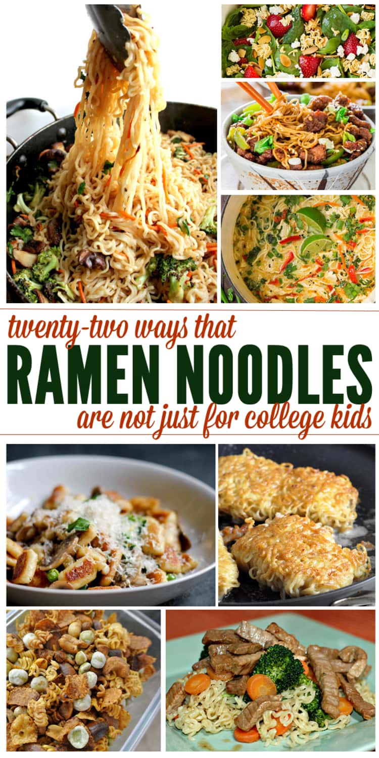 8-photo collage of twenty two ways that ramen noodles are not just for college kids- a collage of ramen noodles recipes; Mongolian Beef Ramen Noodles, Strawberry Crunch Spinach Salad, Ramen-wrapped Cod, Ramen Gnocchi with Mushroom and Peas, Asian Beef Broccoli, and other yummy recipes