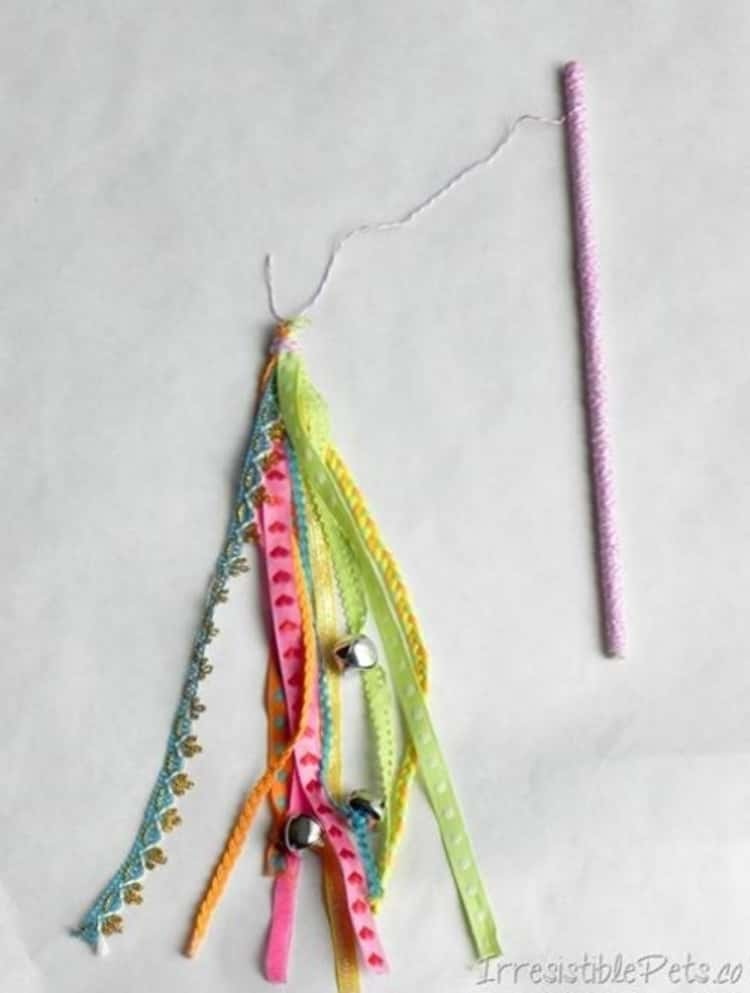 ribbon cat wand which also has some bells added for noisy gaming fun