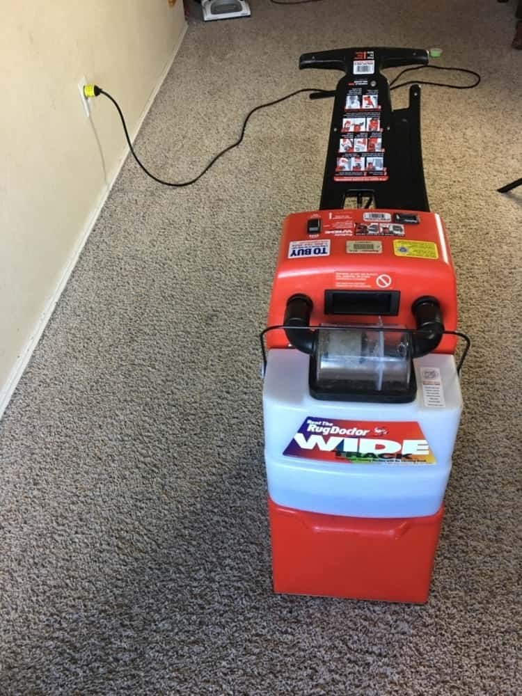Photo showing an assembled rug doctor cleaning machine ready to clean carpets
