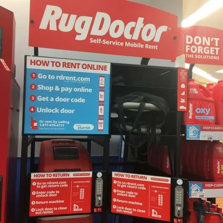 A photo showing a local rug doctor outlet and instructions on how to rent the rug doctor online
