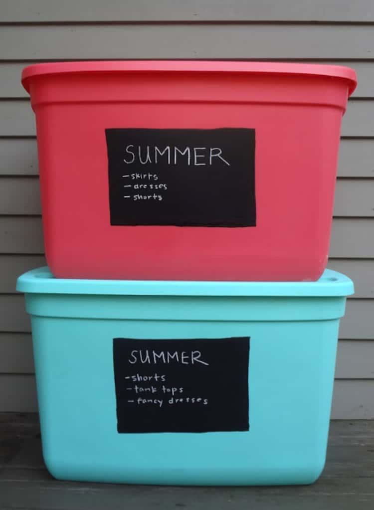 use chalk labels on storage bins for seasonal clothing
