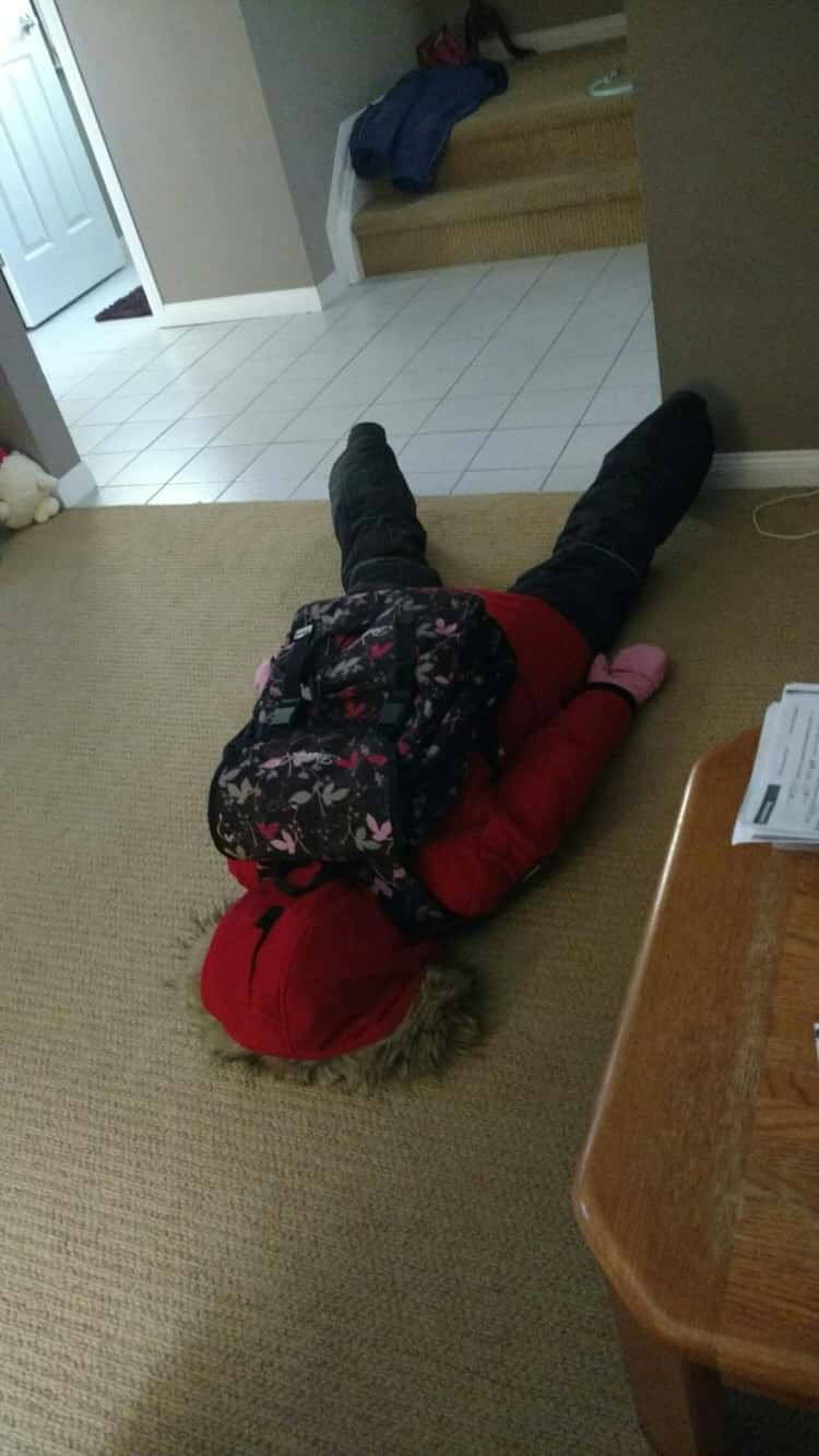 back to school photo ideas  - little girl face down on the floor in despair