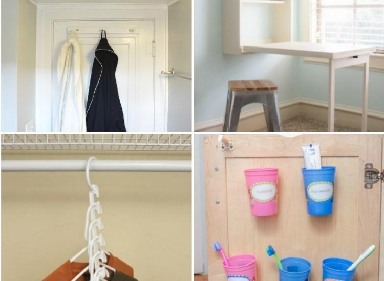 Collage of four organizing space hacks for tiny rooms. Inspiring unique storage tips for small houses.