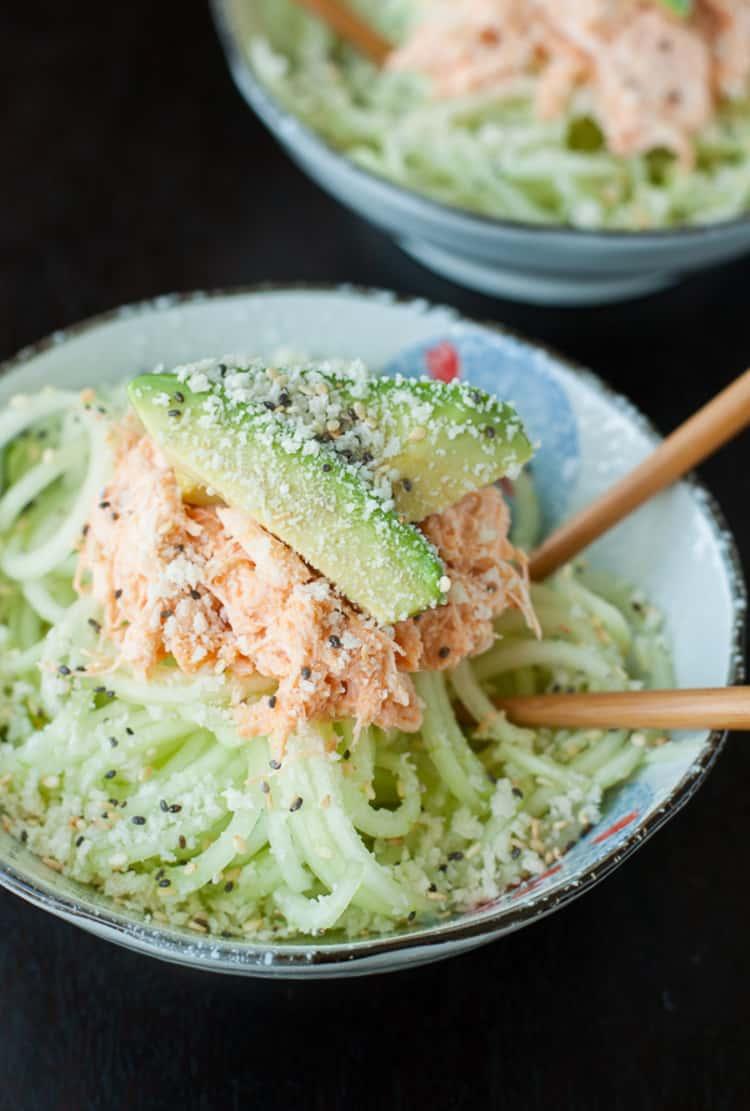 Spiralizer recipe - Spicy Sriracha Crab and Cucumber Salad