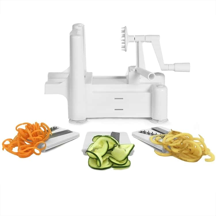 Spiralizer and demo of spiralized carrot, cucumber, and potato