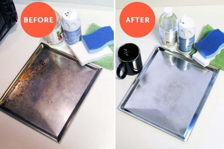 stain removal - before and after photo collage of a restored baking tray