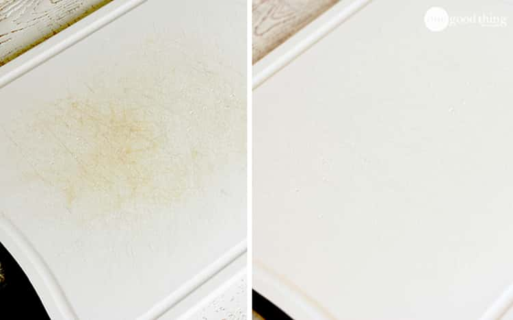 stain removal - before and after photo collage of stained and pristine white cutting board