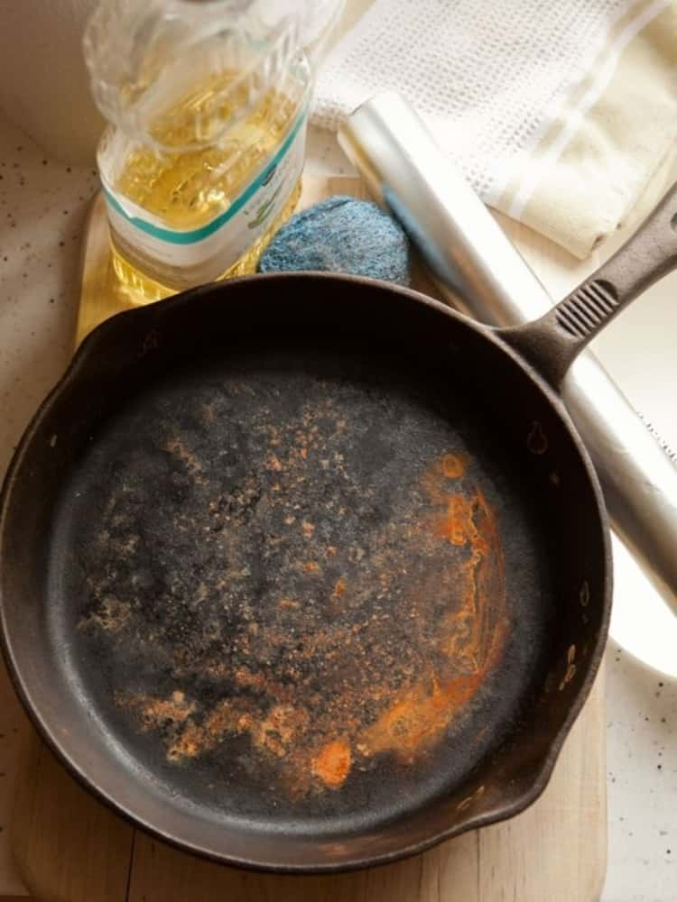 stain removal hacks - cast iron pan with rust stains
