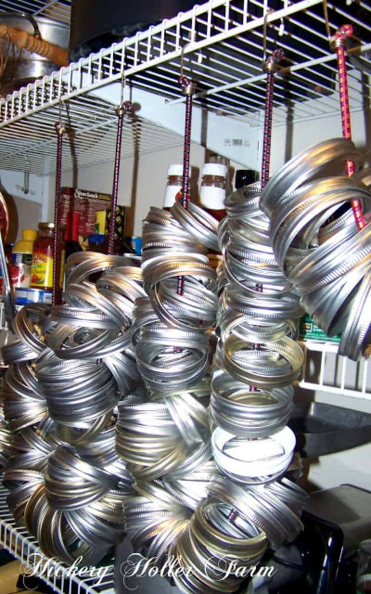 canning jar rings stored by looping and hanging them
