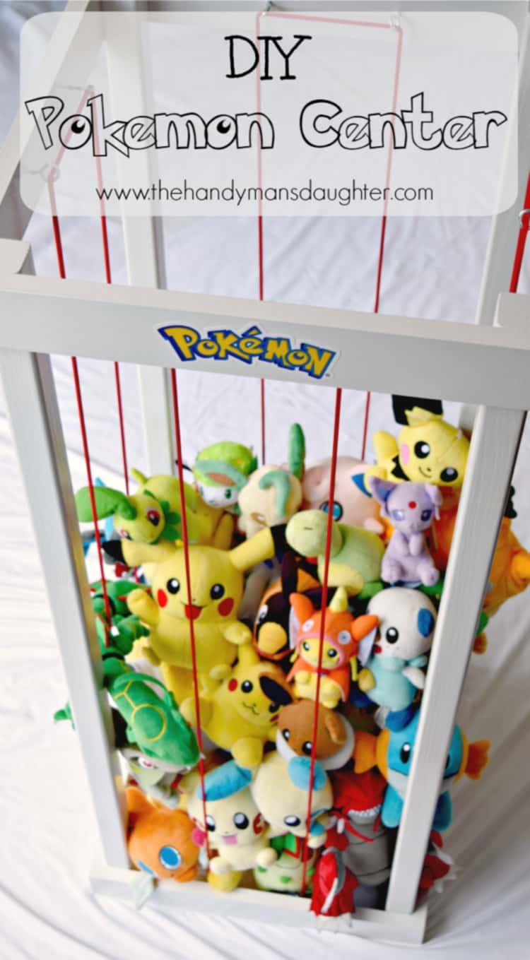 stuffed animal zoo made using bungee cords