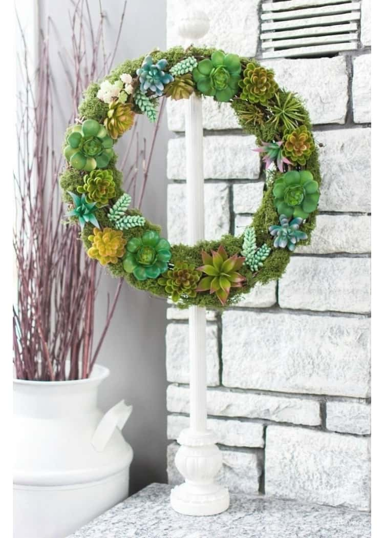 Create your own stunning wreath with a Dollar Store wreath, succulents and moss