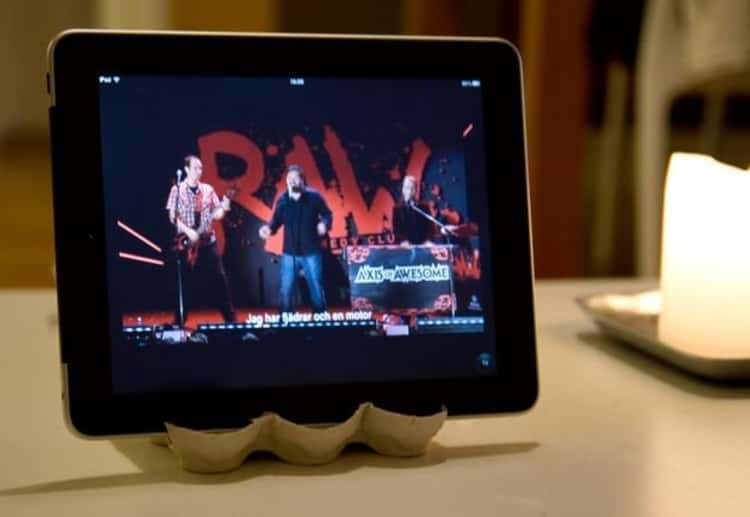 Tablet on a DIY tablet stand made from egg carton