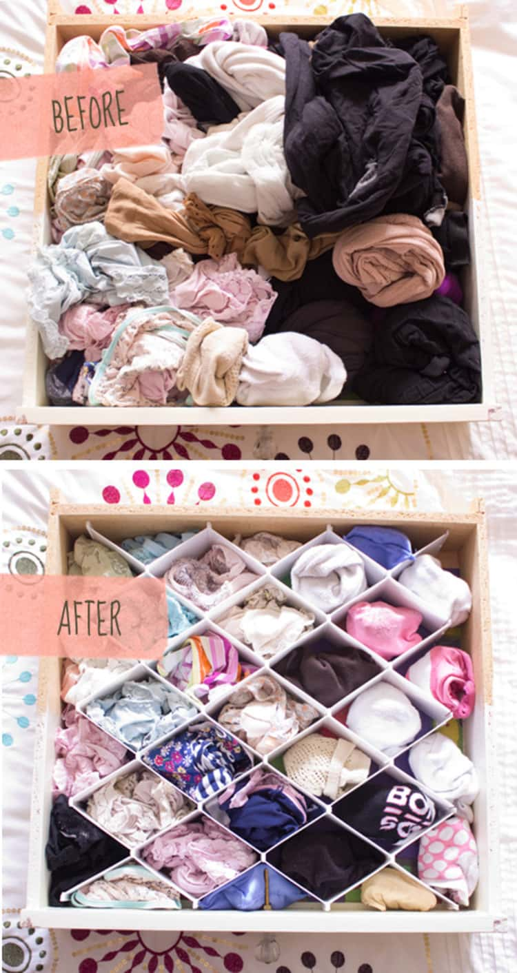 a Before image of a messy drawer full of tights and underwear and an After image of the clothing organized with a drawer divider