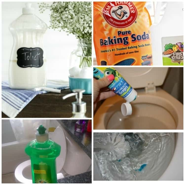 photo collage of toilet stain removal hacks - DIY toilet stain removal, packet of pure baking soda, putting toothpaste into toilet bowl, using dish soap to unclog the toilet